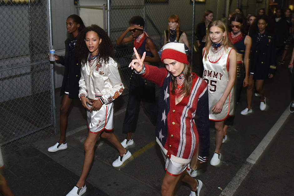 NEW YORK, NY - SEPTEMBER 09: Models walking backstage at the #TOMMYNOW Women's Fashion Show during New York Fashion Week at Pier 16 on September 9, 2016 in New York City. (Photo by Grant Lamos IV / Getty Images for Tommy Hilfiger)