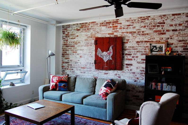 brick wall in the living room