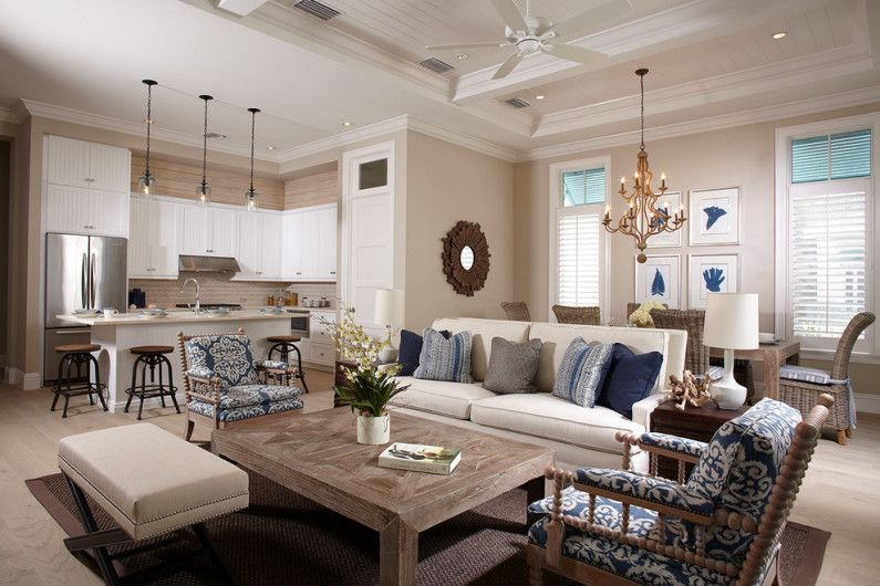 Beige color in the interior of the living room