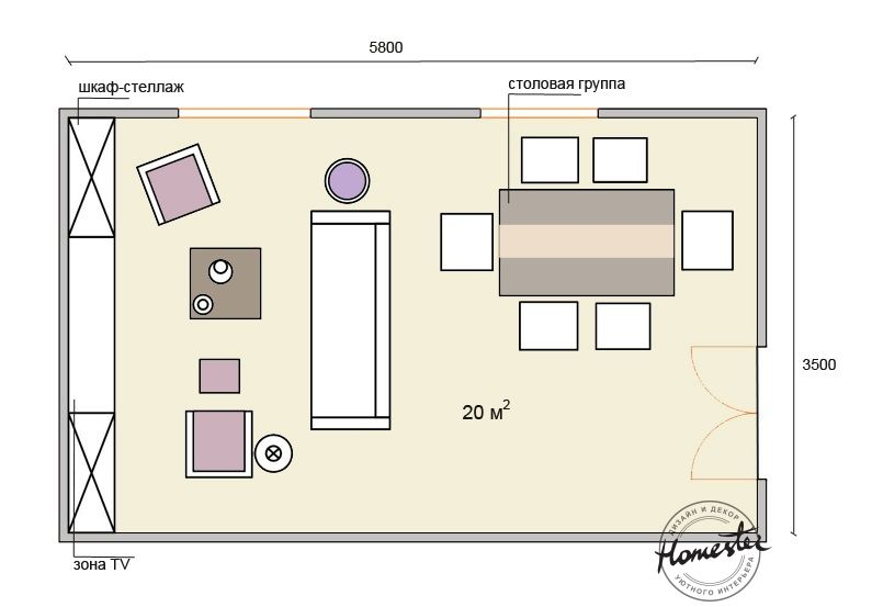 Living room 20 sq.m .: four layout options