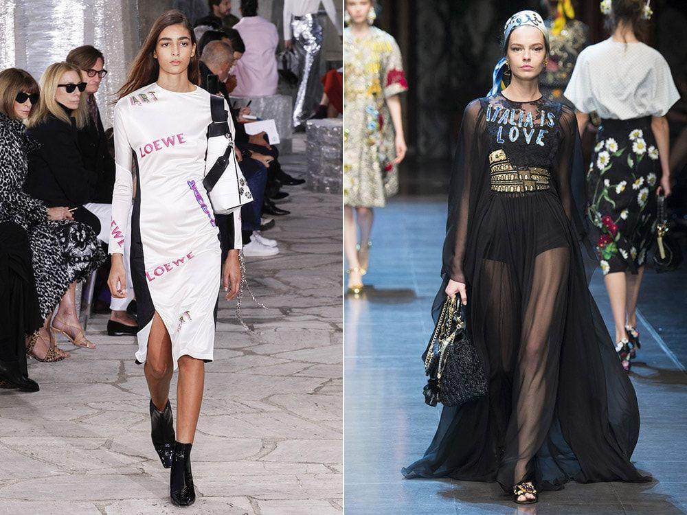 Lettering: Loewe, Dolce & amp; Gabbana