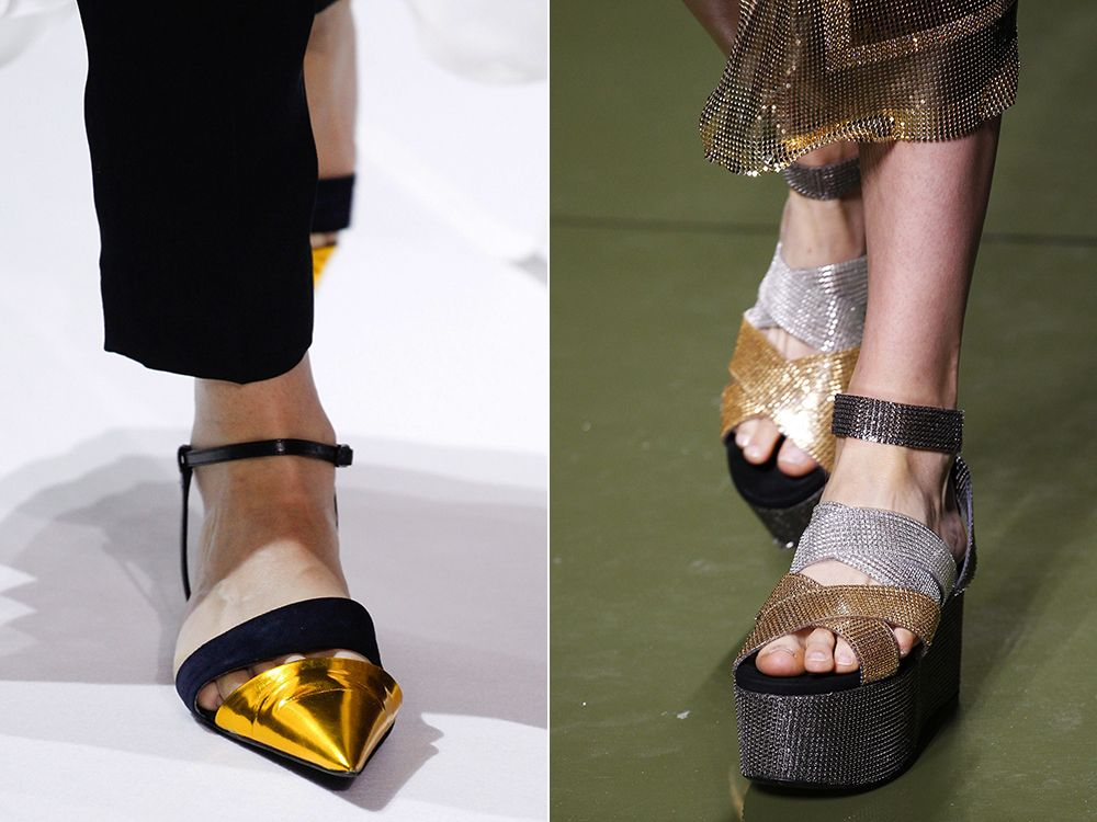 Shoes with metallic effect spring-summer 2017