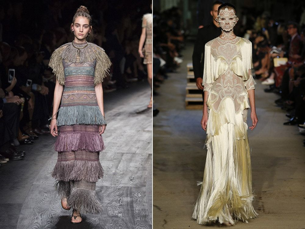 Fringed Dresses: Valentino. Givenchy