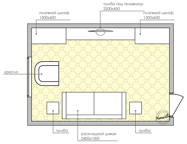 The layout of the bedroom is 18 sq.m.