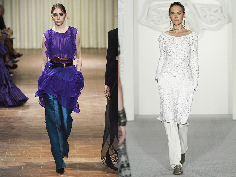 The trend of dress over trousers spring-summer 2017