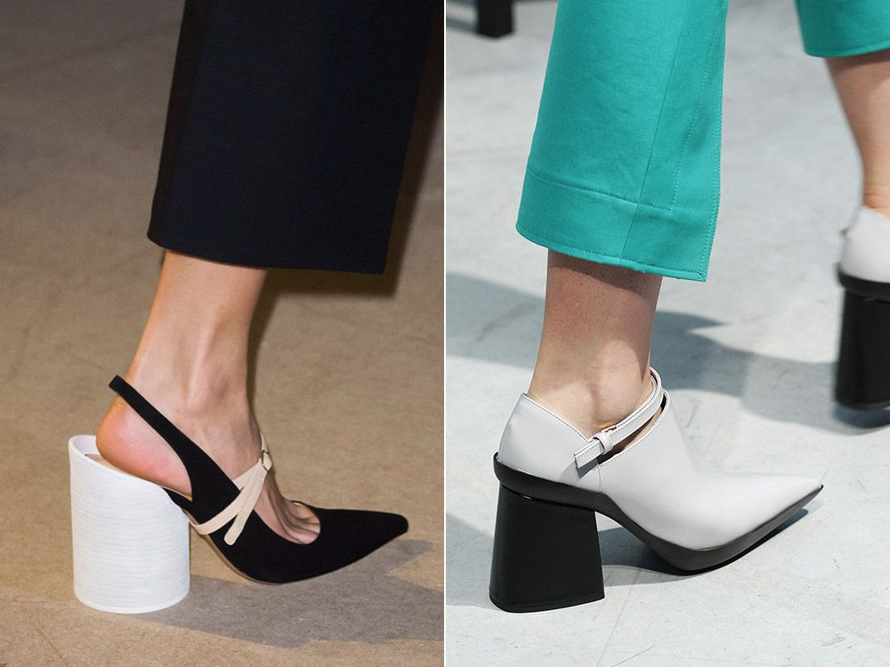 Shoes with a pointed toe on a stable heel spring-summer 2017