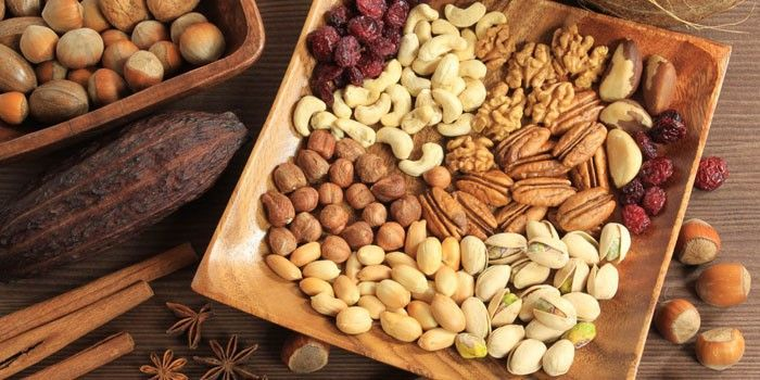 Different varieties of nuts on a plate