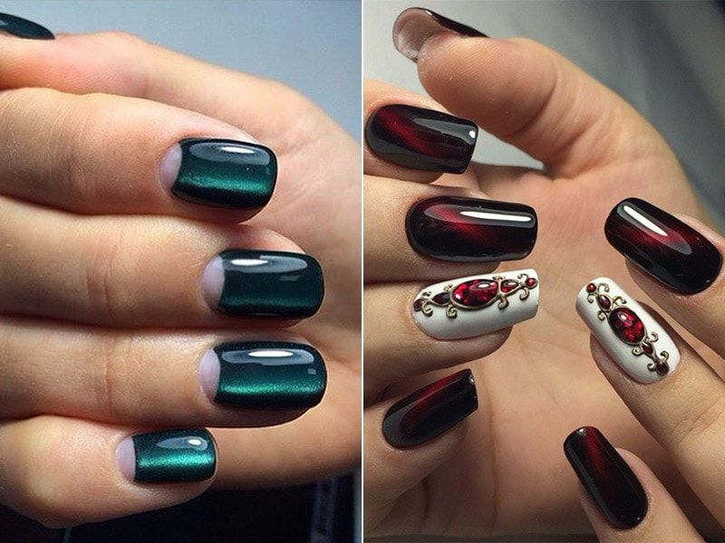 Cat eye manicure with design