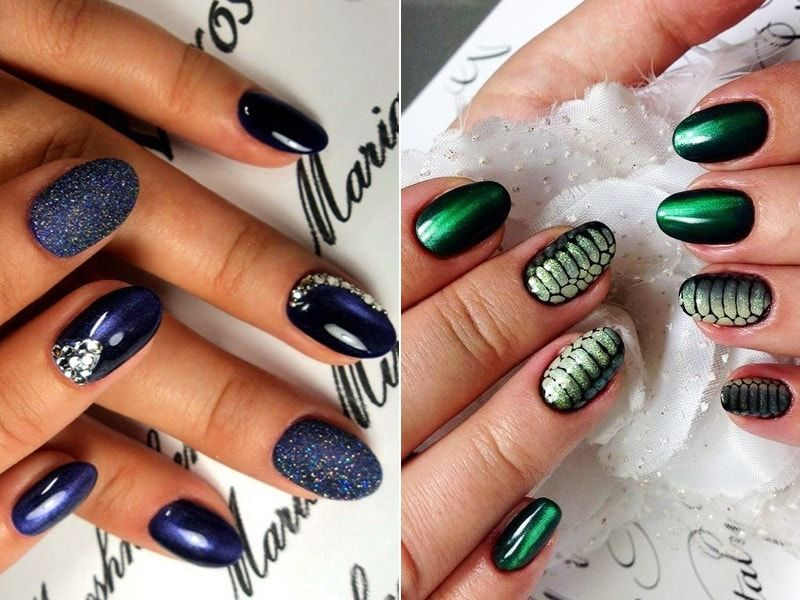 Cat eye manicure with a pattern