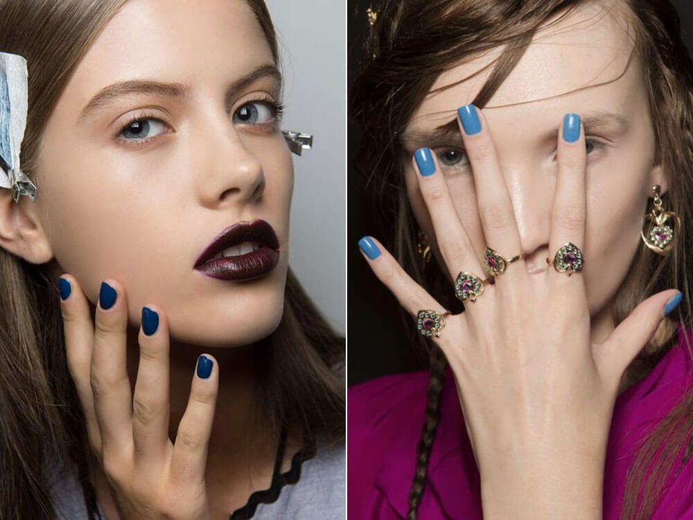 Manicure with blue varnish spring-summer 2017