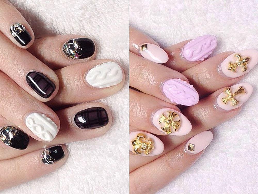 Трикотажен дизайн на ноктите с гел лак.