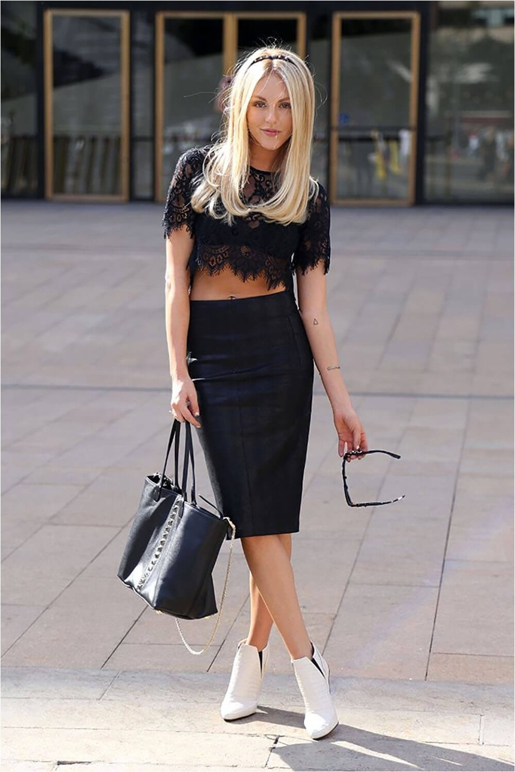 Pencil Skirt With Lace Top