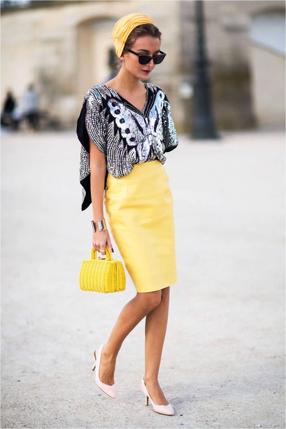 An informal look with a pencil skirt