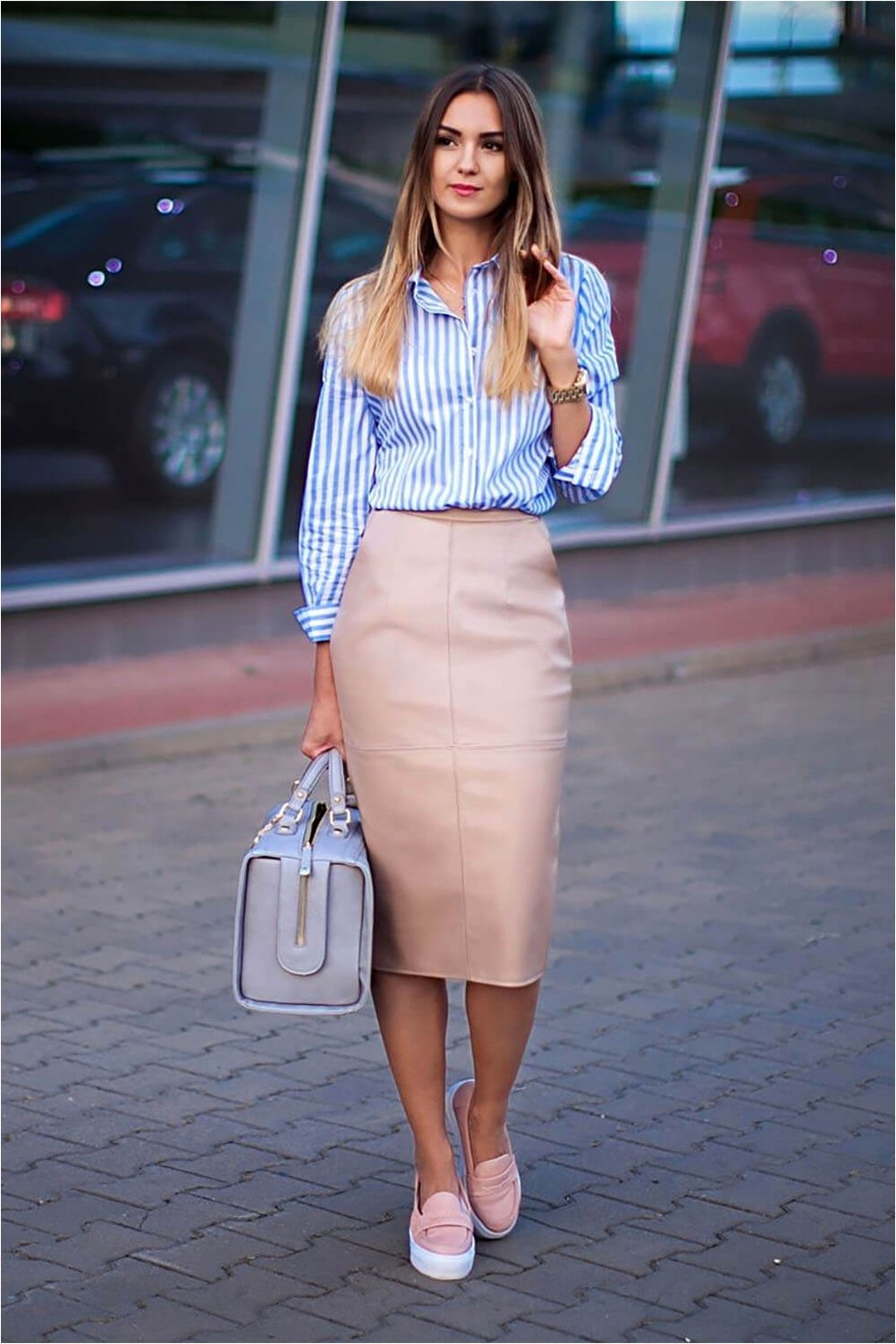 Pencil Skirt with Flat Shoes