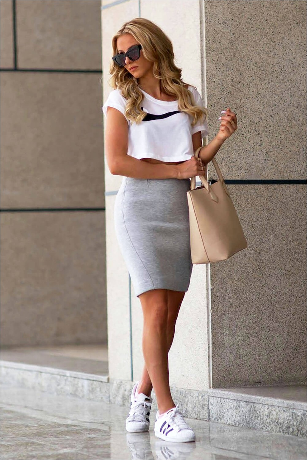 Pencil skirt with sneakers