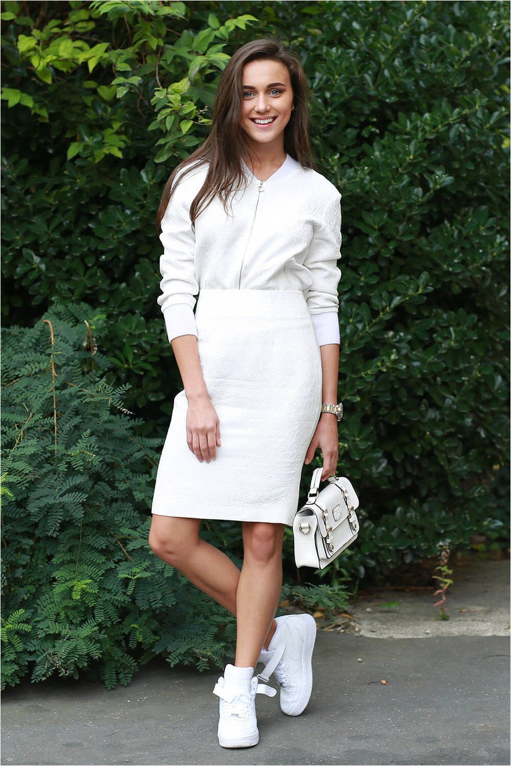 Pencil skirt with athletic shoes