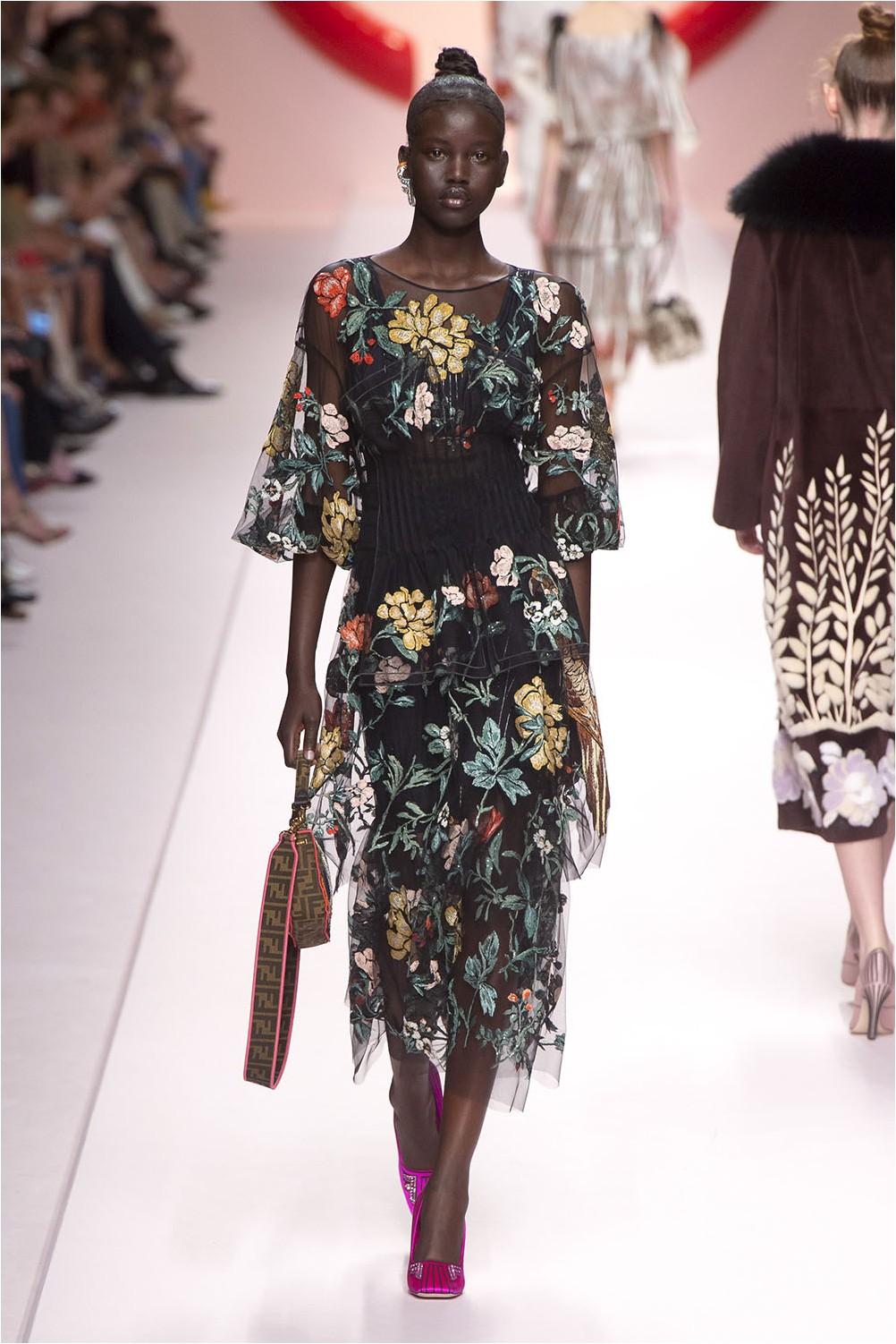 Цветна рокля Fendi