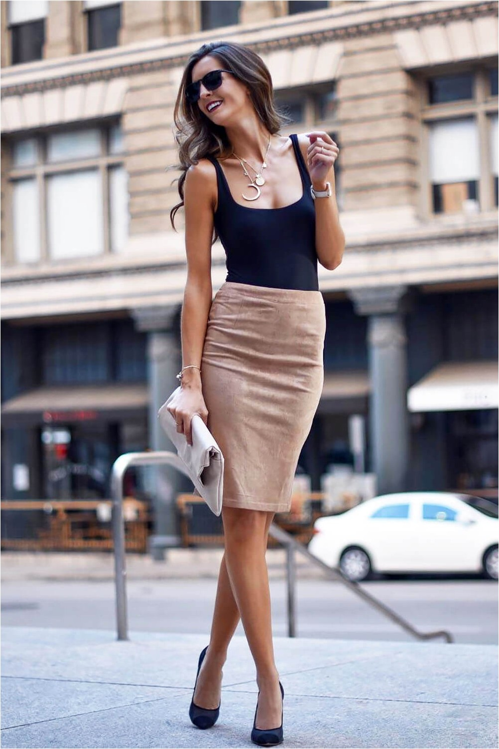 Casual style with pencil skirt